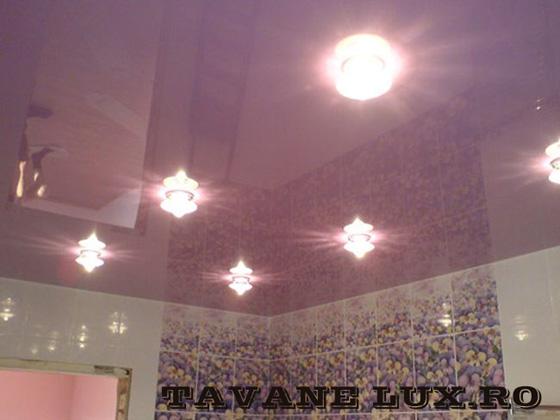 Tavan executat pentru baie decorat cu spot-uri